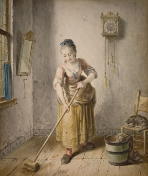Lempertz-929-1446-Old-Masters-Willem-Joseph-Laquy-YOUNG-WOMAN-CLEANING-THE-