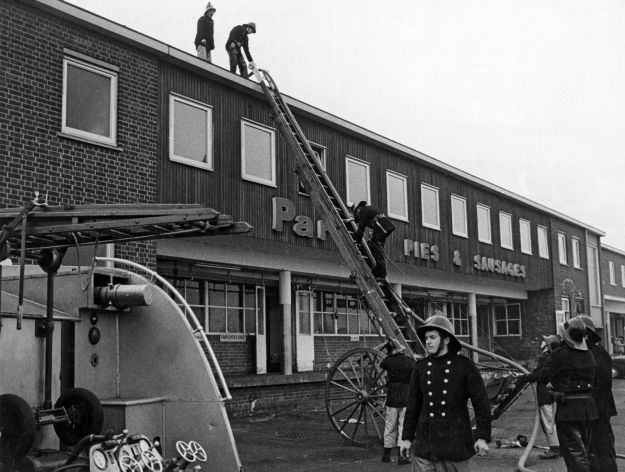 T N Parr's Pie and Sausage Factory, Lilac Grove, Beeston 1973. The fire damaged the cook room and roof